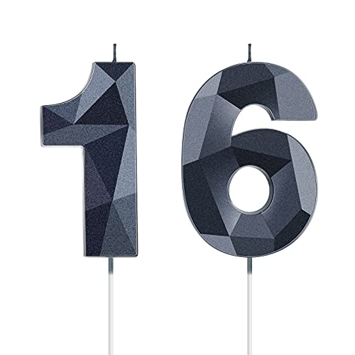 16th Birthday Candles 3D Diamond Shape Number Candles Cake Topper Numeral Candles for Party Decoration Birthday Supplies