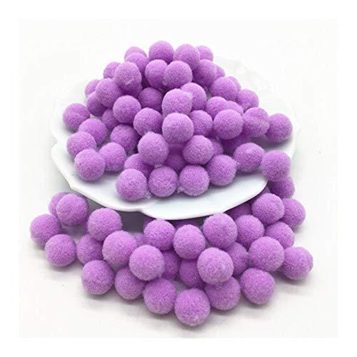JIAHUI 100 mini pompones suaves y esponjosos, hechos a mano, juguetes para niños, decoración de boda, suministros de costura (color: morado claro, tamaño: 15 mm, 100 unidades)