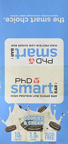 PhD Roll Over Image to Zoom in PhD Smart Bar-High Protein Low Sugar Bar, Cookies & Cream, 32 g