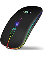 ワイヤレスマウス【最新2.4G デュアルモード】【7色ライト付き】無線マウス