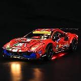 BRIKSMAX Kit de iluminación LED Lego Technic Ferrari 488 GTE AF Corse #51' - Compatible con Lego 42125 Building Blocks Model- No incluir el Conjunto de Lego