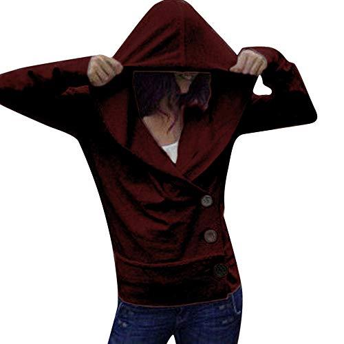 Huihong Damen Mädchen Langarm Oberteile Solide Casual V Ausschnitt Kapuzenpullover Pullover Bluse (Rot, XL)