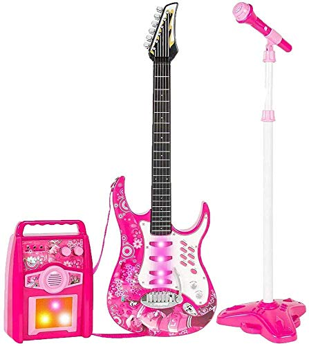 Guitarra eléctrica de trípode micrófono, con cinturón de micrófono de karaoke varilla...
