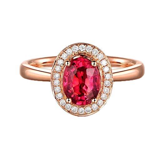 Bishilin Oro Rosa 18K Anillos de Boda Rojo Turmalina Anillos Mujer Paloma Ovalada Turmalina Roja Sangre 1.15Ct Diamante 0.14Ct Oro Rosa Anillo de Compromiso Anillo de Mujer Talla:6,75