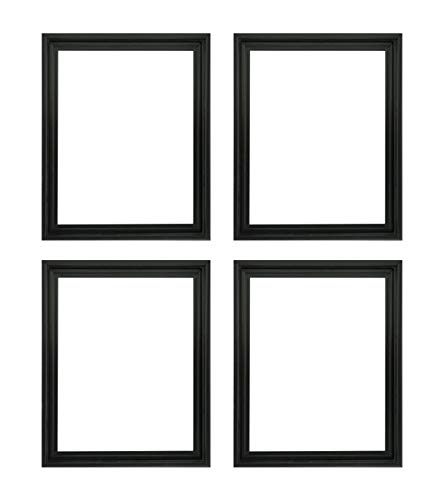 Creative Mark Illusions Floater Frame for 3/4 Inch Depth Stretched Canvas Paintings & Artwork - 4 Pack - [Black - 9x12]