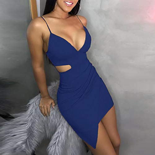 PPangUDing Kleider Damen Sexy Tief V-Ausschnitt Schulterfrei Ärmellos Sling Einfarbig Figurbetont Abendkleider Cocktailkleid Partykleid Sommerkleid Abiballkleid Ballkleid Brautkleid