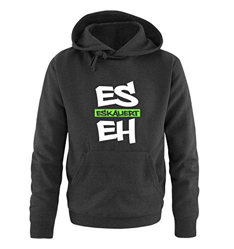 Comedy Shirts - Es eskaliert eh - Graffiti - Herren Hoodie - Schwarz/Weiss-Neongrün Gr. XL