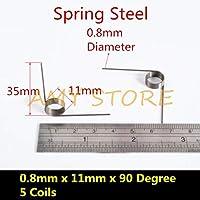 10個0.3 0.4 0.5 0.6 0.7 0.8ミリメートルばね鋼または304ステンレス鋼小v型コイルねじり春90 135 175 180度-0.8x11x90degree