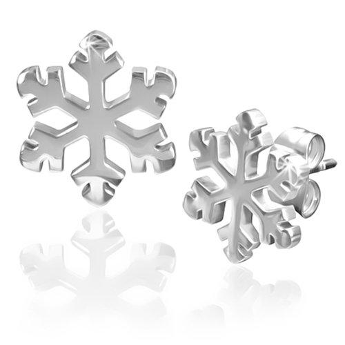 BlackAmazement, set di 2 orecchini a forma di fiocco di neve, a forma di lumaca 316L e Acciaio inossidabile, cod. -