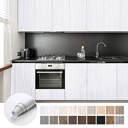 KINLO Selbstklebende möbelfolie klebefolie holzoptik Wasserdicht Weiß 5x0.61M Möbelsticker für Möbel aus hochwertigem PVC Folie Küchefolie Dekofolie ölabweisung antibakteriell
