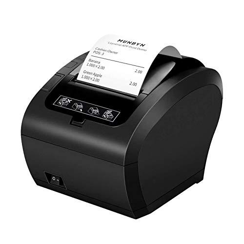 Thermodrucker Bondrukcer 80mm Munbyn AUTO-CUT Schublade Drucker, Hochgeschwindigkeits Drucken 230mm / sec, USB, Ethernet LAN Schnittstelle, kompatibel mit ESC/POS Druck Befehlen eingestellt-EU Schwarz