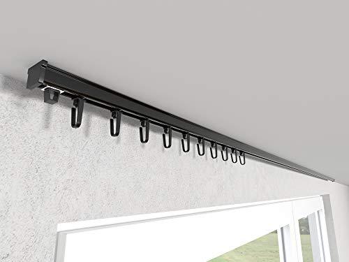 Market-Alley Vorhangschiene Aluminium Weiß/Schwarz Gardinenschiene ; C 1-läufig ; 120cm-600cm. Für Kräuselband Gardinen oder Schiebevorhang (Schwarz Gardinenschiene mit Faltenlegehaken ; 120cm)