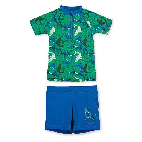 Sterntaler Kinder Jungen 2-teiliger Schwimmanzug, Kurzarm-Badeshirt und Short, UV-Schutz 50+, Alter: 4-6 Jahren, Größe: 110/116, Pfefferminz
