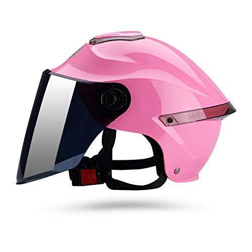 Galatée Casco de motocicleta con visera, adecuado para ciclomotores, scooters, cruceros, pase la prueba de colisión para cumplir con la seguridad vial(Rosado, Lente marrón) 🔥