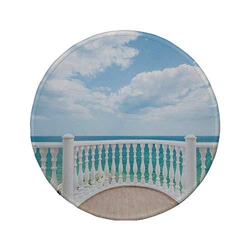 Rutschfreies Gummi-rundes Mauspad weißes Dekor Balkonwolken am sonnigen Tag am Meer klares Himmelbild himmelblau weiß und hellbraun 7,87 'x 7,87' x 3 mm