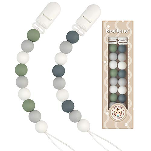 Pacifier Clip Boys Girls Paci Holder Silicone Teething Beads Teether Toys Binky Soothie Clip for Baby 2 Pack (Green, Gray)