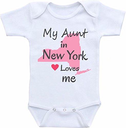 "Promini - Body para bebé con texto en inglés ""My Aunt in New York Loves Me"""