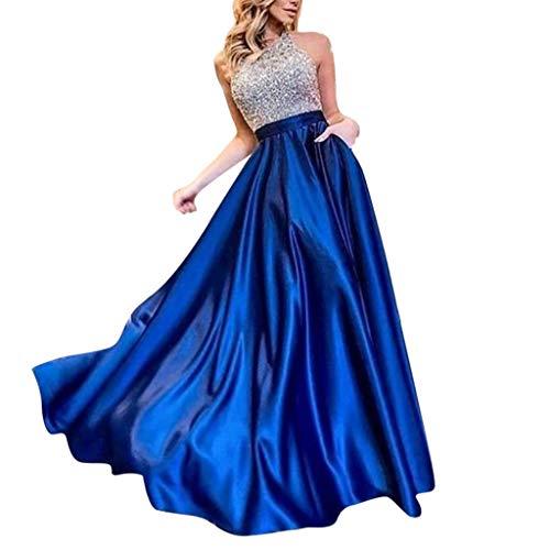 Damen yayaki shiny partei-kleid-abend-kleider festliche kleid fringe lange ärmel-cocktailkleid blue- 1 mittel