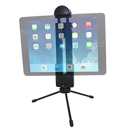 YuCool - Adaptador para trípode, soporte universal ajustable para todos los iPad Pro, Surface, Smartphone, Tablet, palo selfie + mini trípode de metal ligero – negro