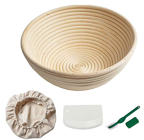 Emwel Round Bread Proofing Basket - 25cm Large Banneton Proving Basket Natural Rattan Sourdough Proving Basket for Professional Home Bakers (with Cloth Liner, Dough Scraper, Bread Lame)