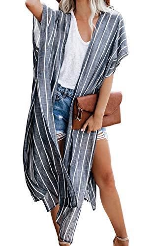 Mujeres Verano Kimono Cardigan Casual Ropa de Playa Pareos Retro Impreso Blusa Larga Tops Manga Corta