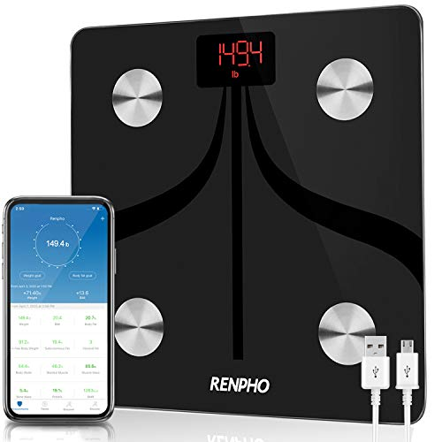 RENPHO Body Fat Scale Weight Bathroom Smart Digital Bluetooth Scale USB Rechargeable with Smartphone App, Body Composition Monitor for Body Fat, BMI, Bone Mass, Weight, 396 lbs Black