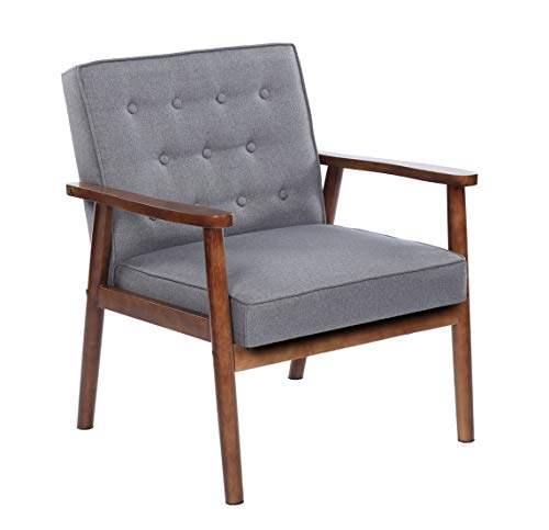 Verstile & Exquisite Accent Chair for Living Room, Retro Modern PU Upholstered & Wooden Single Reading Chair, 29.53 x 27.17 x 33.07, Gray Fabric