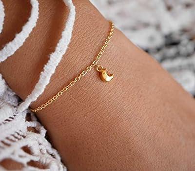 Bracelet plaqué or lune - bracelet croissant de lune - bracelet doré - mini lune - bracelet fin doré - bijoux lune - bracelet empilable