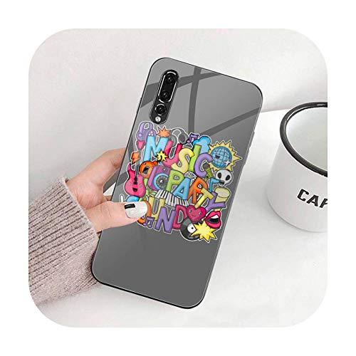 Graffiti I love music Phone Case Cristal Templado Para Huawei P30 P20 P10 lite honor 7A 8X 9 10 mate 20 Pro-a8-Honor 8X