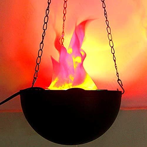 PRETYZOOM Brasero eléctrico de fuego falso con luz y llama ardiente para fiestas de Halloween