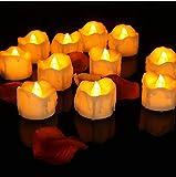 LED Kerzen,12er Gelb LED Flammenlose Kerzen mit Timerfunktion Led Teelichter 6 Stunden an und 18 Stunden aus, flackernde batteriebetriebene kerzen, Gelb - 3