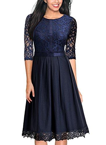 MIUSOL Damen Elegant Abendkleid Cocktailkleid Vintag 3/4 Arm mit Spitzen Knielang Party Kleid Dunkelblau XL