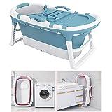 XQHD Badewanne Zusammenklappbar, Faltbare SPA Erwachsene Kunststoff Ideal Für Heißes Badeisbad,Blue
