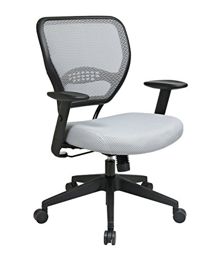 SPACE Seating AirGrid Back and Padded Mesh Seat, 2-to-1 Synchro Tilt Control, Adjustable Arms, Nylon Base Managers Chair, Shadow