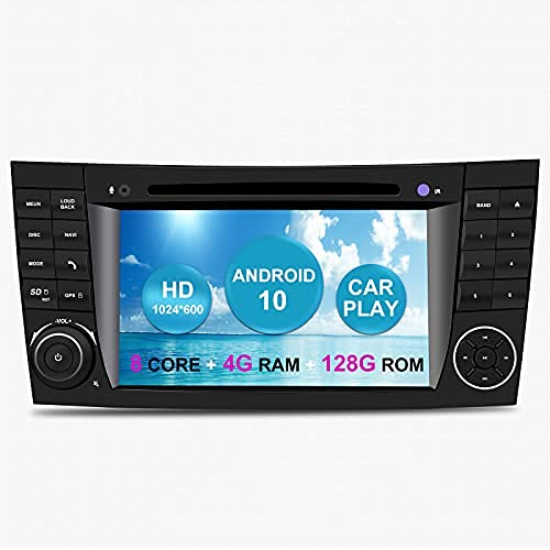 Android Auto Radio Estéreo para automóvil para Mercedes Benz Clase E W211 CLS Clase W219 W209 Android 11 Octa Core 6GB RAM 128GB ROM 7' Reproductor de DVD para automóvil GPS para automóvil con CarPlay