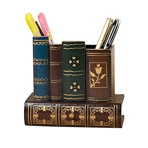 LHJCN Portalápices de Madera, decoración para Biblioteca, Libro, portalápices, diseño Creativo, Material de Oficina, Estuche, cajón con Fondo (Color Madera), Organizador de papelería.