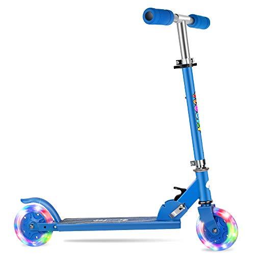 BELEEV Roller Kinder 2 Räder, Verstellbare Kinderroller Tretroller Cityroller für Mädchen & Jungen, Klappbar Tragbar Roller Scooter mit LED Leuchträdern für Kinder(Sky Blau)