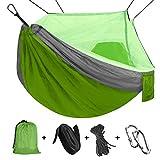 Viaje y Camping Hamaca, Mosquitero Hamaca Ultra Ligera para Viaje y Camping Nylon Portátil Paracaídas Secado Rápido para Excursión Jardín 110'(L) x 59'(W) (Green/Grey)