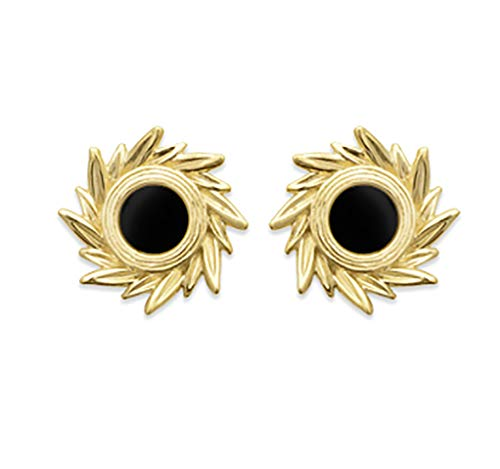 Stud Earrings in 18 Carat Gold-Plated Black Agate with Crown and Velvet Pouch
