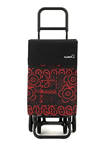 Garmol Carro de Compra, Negro/Rojo, 48L