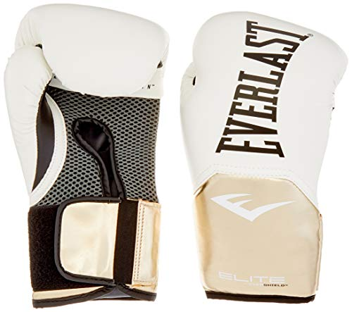 Everlast Erwachsene ELITE PROSTYLE TRAINING GLOVES WHITE/GOLD 10 OZ Boxhandschuh, 10