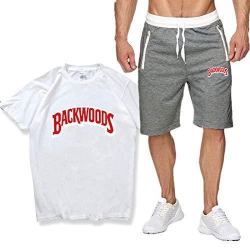 ZGDJZM Herren Fitnessstudio Outfit Set Kurzarm Top Tshirt & Jogger Shorts Bottom Trainingsanzug Taschen Short Sets White B-S