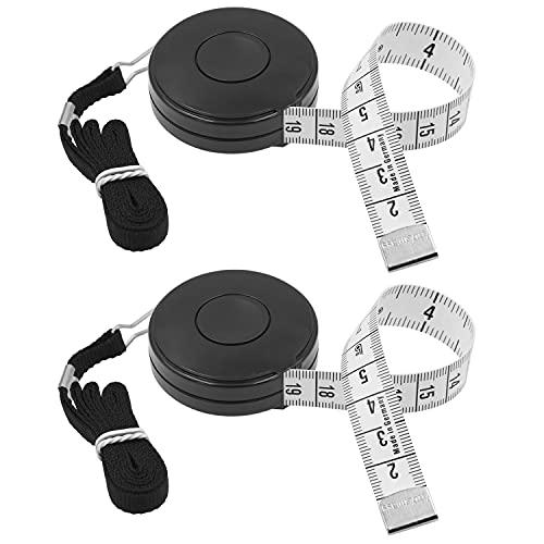 FEELCAT オートメジャー 150cm/60inch 両面メモリ 巻き尺 自動巻取り式 周囲測定用 テープメジャー 裁縫用 採寸 手芸用 (黒×2)