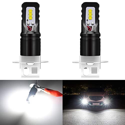 KATUR H3 LED Fend Light Bulb 1600 Lumen Max 80W Chip ad Alta Potenza CSP 6500K Xenon Bianco Sostituire per fendinebbia o Luce di Marcia Diurna DRL - 3 Anni di Garanzia