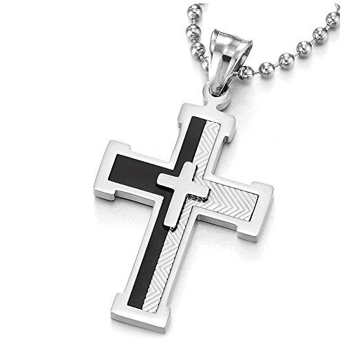 COOLSTEELANDBEYOND Dos Capas Collar de Rayas Cruz, Colgante Cruce de Hombre, Acero...
