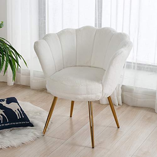 Wahson Sessel für Schlafzimmer Weicher Kunstpelz Armlehnstuhl mit Vergoldeten Metallbeinen,Freizeitsessel für Wohnzimmer/Vanity (Weiß)