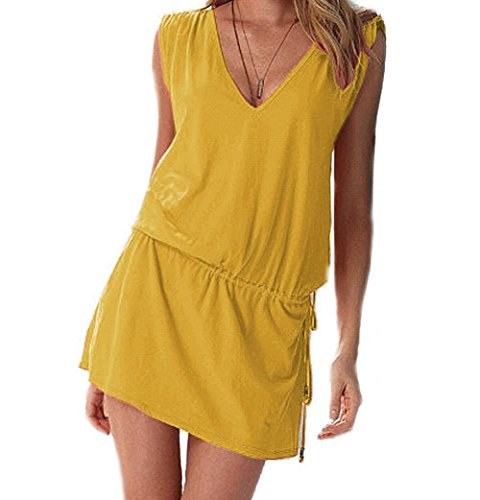 Butterme Le donne profondo scollo a V Aperto-back Beach Bikini Cover-up Estate Cover Up Beach Skirt Dress