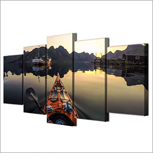 WZYWLH Decoración del hogar Imágenes modulares enmarcadas HD 5 Panel Calma Lago Kayak Barco Estacionado Sala de Estar Arte de la Pared Pintura Impresa Lona Moderna