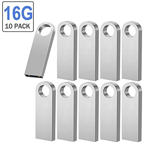 Memorias USB 16GB, Pendrives Flash 10 Piezas USB 2.0 Sticks Flash Drives(Plata)
