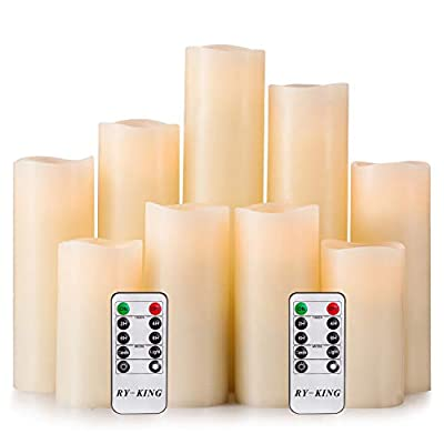 RY King Battery Operated Flameless Candle Set of 9 Real Wax Pillar Decorative Led Fake Candles with Remote Control and Timer by Lingyun